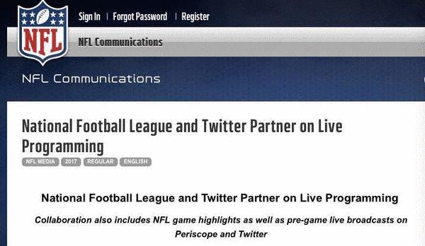 NFL与Twitter签下一份多年合约。