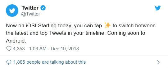 Twitter启用了推文按时间排序的功能