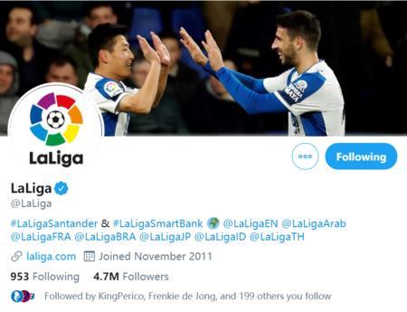 武磊进球照片成LaLiga官方Twitter背景图